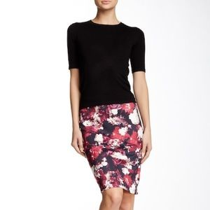 Dex the Suit Shop floral plum print pencil skirt